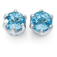blue topaz stud earrings earrings with blue topaz in 10kt white gold
