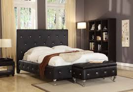 bedroom black bed frame with headboard features tufted button