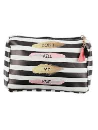 black striped don u0027t kill my vibe cosmetic makeup bag or pouch