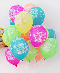 10x balloons neon 5 colors assorted printed happy