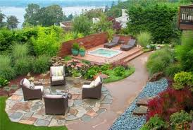 exterior beauteous landscaping ideas with stone floor and concrete