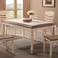 cottage dining room sets coaster 106451 allston antique white rectangular cottage dining table