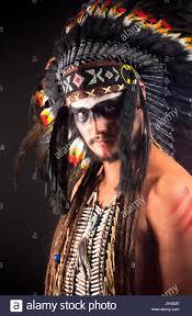 native american indian chief war bonner headdress stock photo