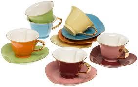 coffee u0026 tea cups u0026 saucers set of 6 assorted colors inside out