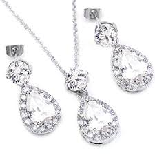 white gold crystal necklace images Fc jory white gold gp clear cz crystal teardrop bridal jpg