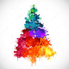 colorful abstract paint spash christmas tree u2014 stock vector
