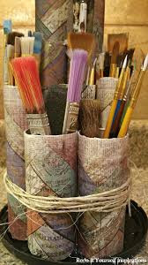 paint brush holder recycled paper rolls redo it yourself