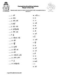 thanksgiving algebra simplifying radicals puzzle by teaching high