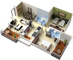 Floor Plan For A House 50 3d Floor Plans Lay Out Designs For 2 Bedroom House Or Apartment