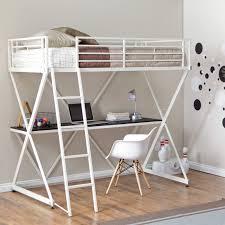 loft bed with desk and storage trundle frame desk underneath white