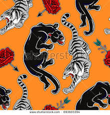 seamless pattern cats tiger panther stock vector 693603394