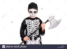Skeleton Face Painting For Halloween by Boy With Face Paint And Skeleton Halloween Costume Isolated In