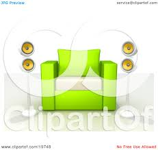 clipart graphic of a green and white chair with two surround sound