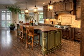 l shape rustic kitchen decoration using travertine tile kitchen