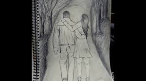 how to draw a love couple walking romancing hugging youtube
