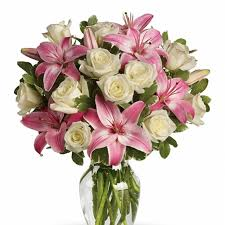 pink lilies white roses and lilies bouquet send a lovely bouquet to a lovely