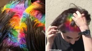 rainbow color hair ideas salon creates hidden rainbow roots hair color teen stunning and