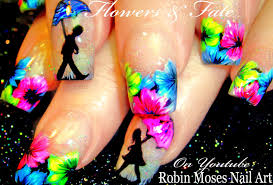 robin moses nail art neon flower nails with romantic umbrellas