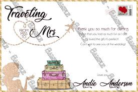 bridal shower thank you cards novel concept designs miss to mrs traveling bridal shower