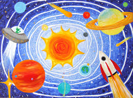 Kids Art SOLAR SYSTEM No X Acrylic Canvas Childrens Room - Hanging solar system for kids room