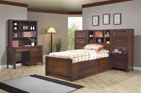 4 dominic youth bedroom set with storage bed in rich walnut