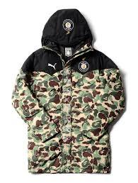 bape x puma long camo jacket military men s and women s parka a