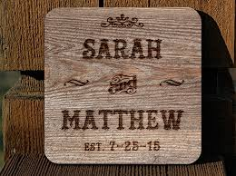 personlized wedding gifts personalized wedding anniversary shower gift wood burn coasters