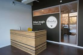 Plywood Reception Desk Hatch Interior Design Blog Urban Jungle Office Design Edmonton
