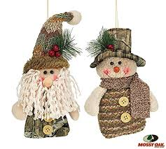mossy oak santa and snowman camouflage tree ornaments