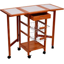 Kitchen Island Cart With Drop Leaf by Amazon Com Homcom Portable Rolling Tile Top Drop Leaf Kitchen