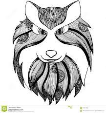 zentangle stylized wolf anti stress coloring page stock