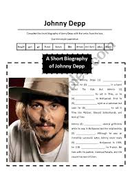 biography johnny depp video english worksheets a short biography of johnny depp