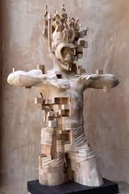 glitch wood carving pixelated snorkeler by hsu tung han junk host