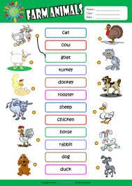 farm animals esl printable worksheets for kids 1