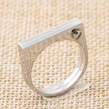 Fashion Flat Shackle Tag Ring punk Screw Finger Ring Rose Gold Color