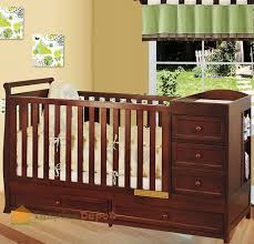 Crib Dresser Changing Table Combo Multi Function Cherry Solid Wooden Baby Crib Combo Dresser