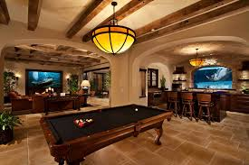 industrial basement ceiling basement traditional with oversized tv
