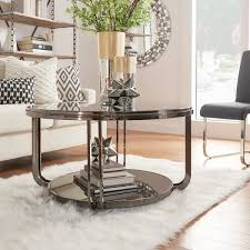 nickel plated desk l edison black nickel plated castered modern round coffee table by