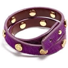double wrap bracelet images Tory burch purple stud new logo double wrap calf hair leather gold jpg