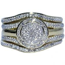 3 engagement ring wedding ring set 3 0 33ct w halo engagement ring and 2