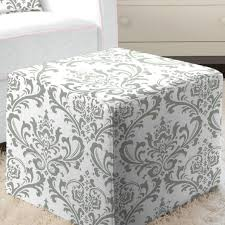 gray traditions damask cube ottoman carousel designs