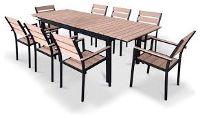 Outdoor Dining Room Furniture Eco Wood Extentable Outdoor Patio Dining Set 9 Piece Set