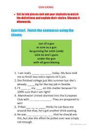 gun idioms worksheet free esl printable worksheets made by teachers