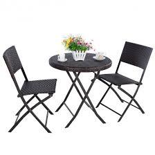 Rattan Wicker Patio Furniture 3pc Folding Round Table U0026 Chair Bistro Set Rattan Wicker Outdoor