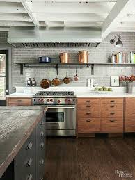 Weathered Wood Sets Off Classic Clapboard Traditional White - Rustic modern kitchen cabinets