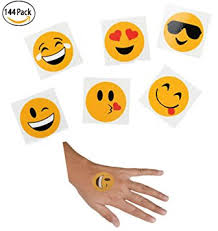 amazon com assorted emoji smiley face tattoo 144 pack emoticon