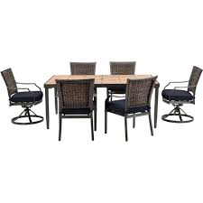 Hanover Patio Furniture Hanover Mercer 7 Piece All Weather Wicker Patio Dining Set With