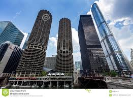 chicago marina city complex and modern buildings editorial