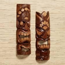 Tiki Home Decor Tiki Warrior Wood Mask Wall Art Set