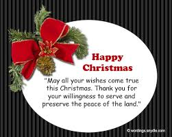 merry wishes for soldiers wordings and messages